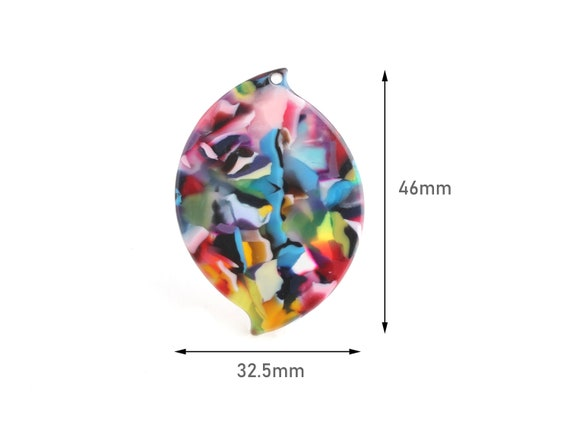Snake Beads Rainbow Tortoise Shell Beads Colorful Marble Resin Charms Acetate Pendant Necklace 2 Zig Zag Beads Neon Colors XY006-62-KMC