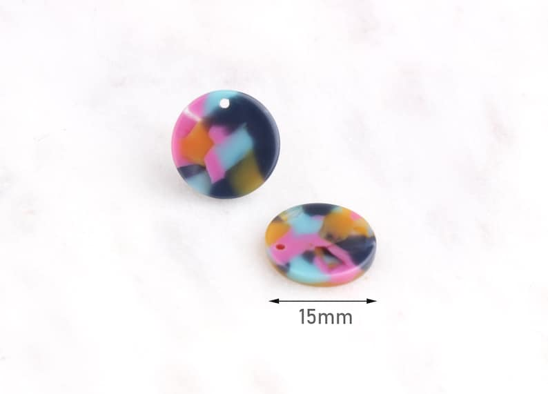4 Small Round Discs 15mm CN039-15-UPY Geometric Charms Acrylic Earring Blanks Light Blue Yellow Pink Multicolor Tortoise Shell Beads