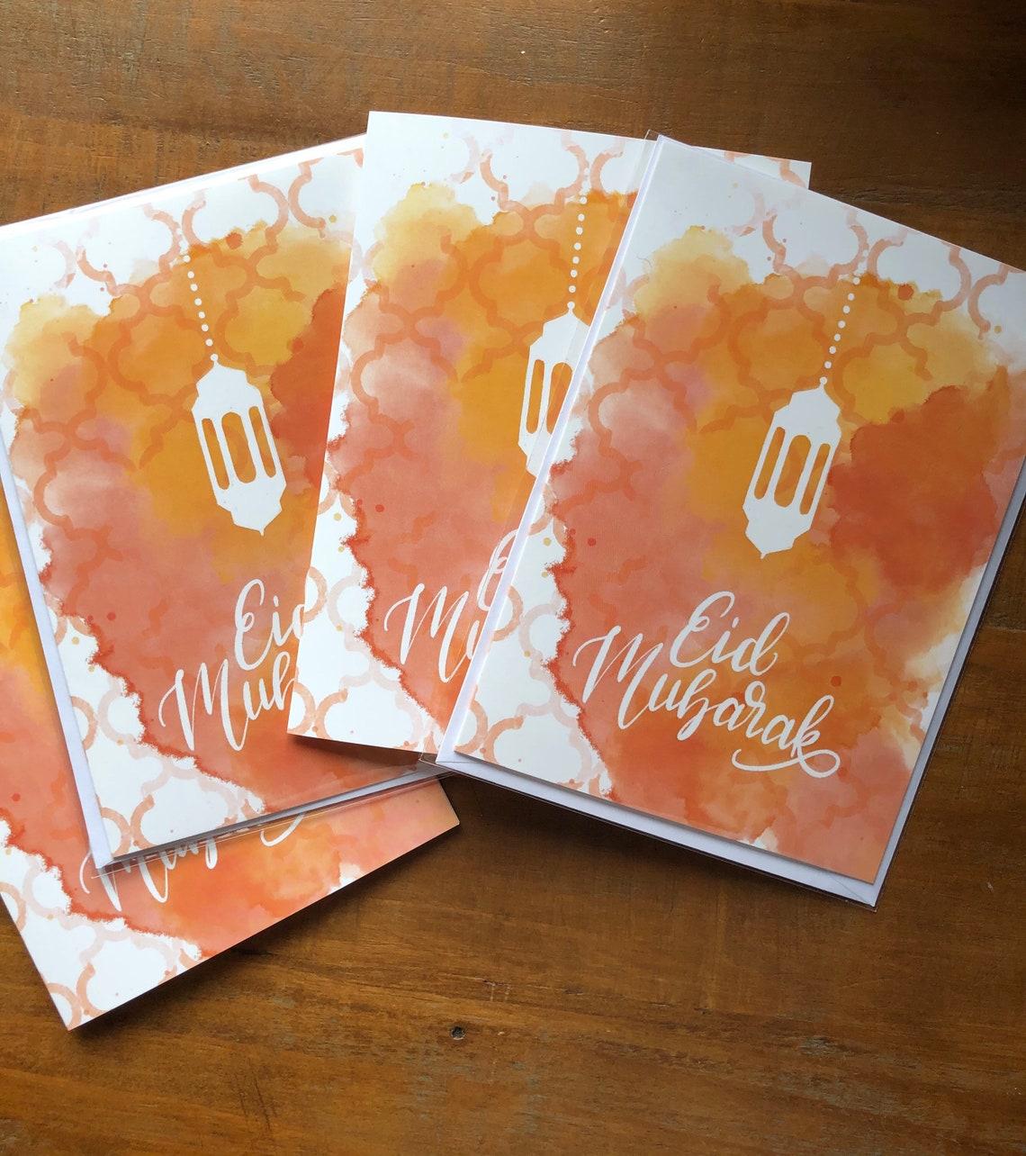 eid cards eid mubarak 4 cards multipack  etsy
