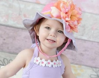 f736c2a778b0 Lavender Sun Hat For Little Girls Fashionable Sun Hat For