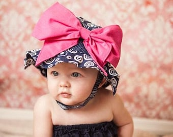 cf7ba4cb387 Cute Baby Sun Hat-Navy Blue Sun Hat with Hot Pink Bow For Girls-Trendy Hats  -Cute Girls Sun Hats-New Born Baby Hats -Trendy Kids Hats