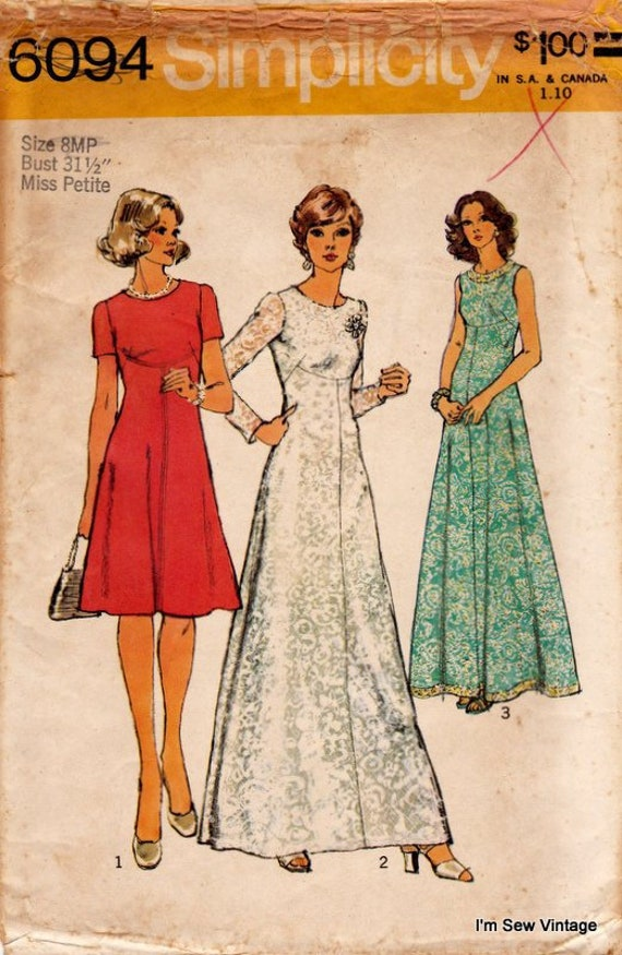 Free UK P/&P Butterick Ladies Easy Sewing Pattern 6094 Vintage Style Dre...