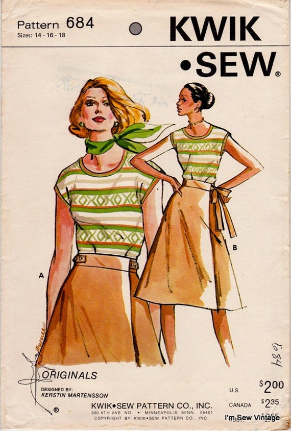 Kwik Sew 684 Vintage Sewing Pattern Misses Knit Top and Wrap | Etsy