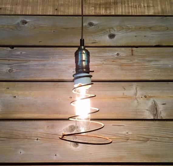 Rustic Vintage Bed Spring Hanging Plug-in Pendant Lamp