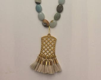 Amazonite Gemstone and Gold Chain Beaded Long Necklace with Cream and Gold Tassel Pendant