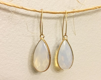 Opal Gemstone and Gold Earrings
