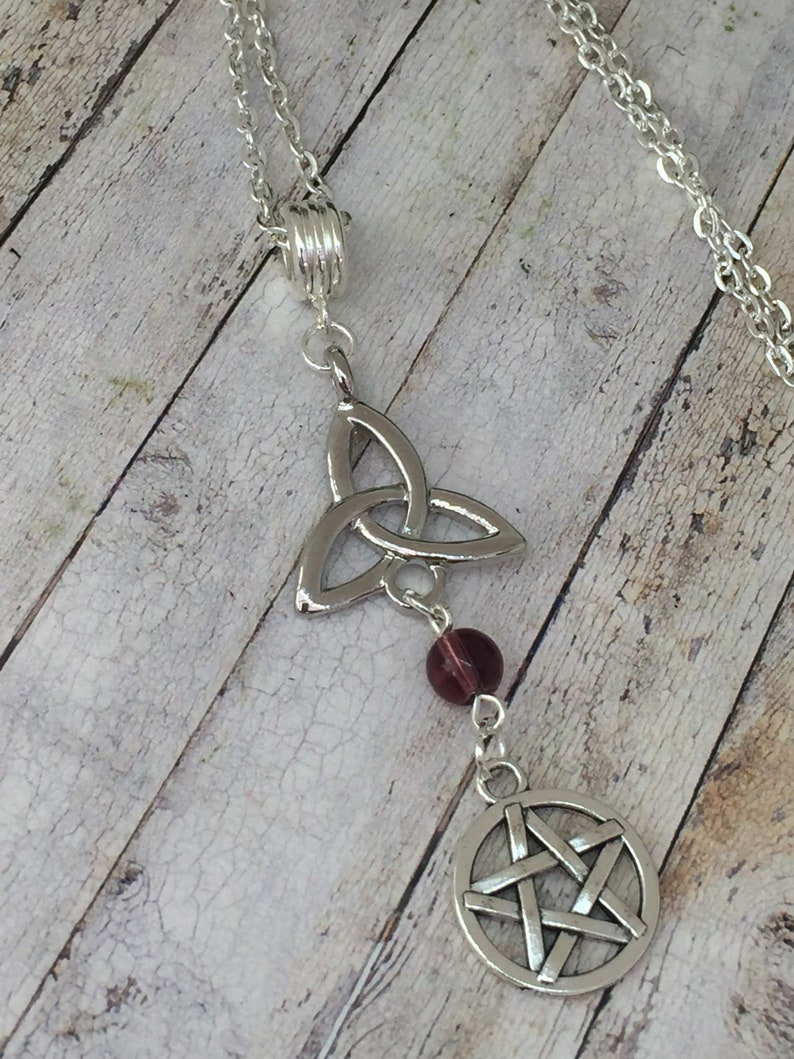 Wicca Pagan Jewelry Sterling Silver Celtic Knot Triquetra Pendant Amethyst