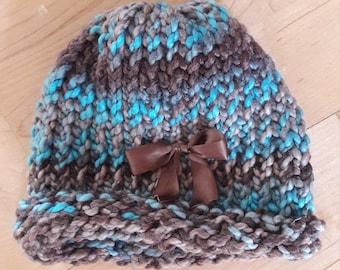 Turqoise & Brown Baby Hat