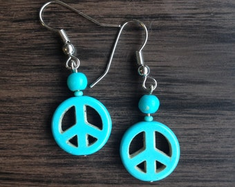 Turquoise Stone Peace Sign Earrings