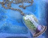 Amethyst Necklace - Terrarium Necklace - Crystal Necklace - Healing Stone - Zen Jewelry- Meditation Jewelry - Handmade Gift her - Birthstone