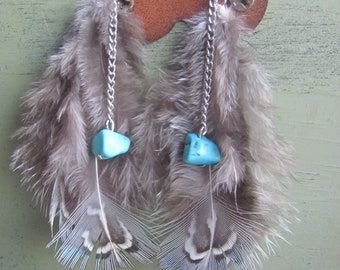 Delicate Feather Earrings with Turquoise bead