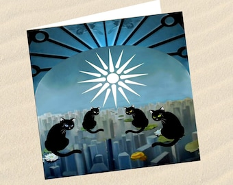 Cat, cat greeting card, cat art: the rooftops of the city