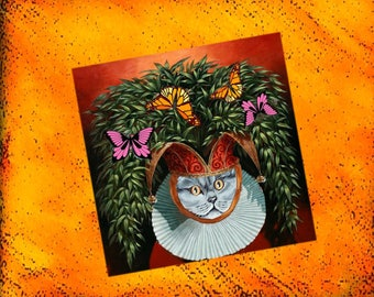 double square card with cat: jester costume