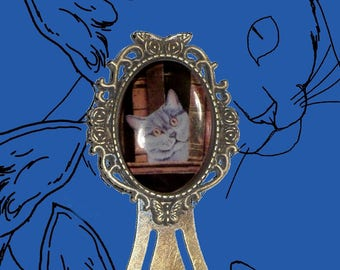 Bookmark cabochon with cat: la Bibliothèque Carthusian