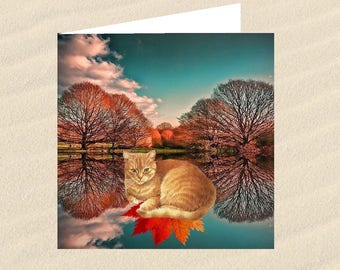 Cat, cat greeting card, cat art: the colors of autumn