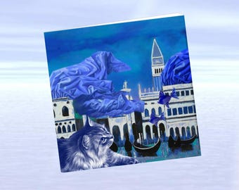 Cat, cat greeting card, cat art: Blue Cat in Venice