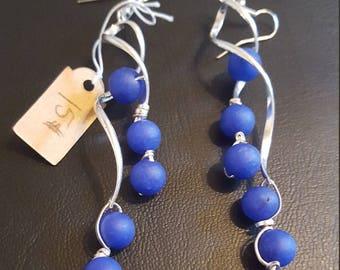 Blue and SIvler Cascade Earrings