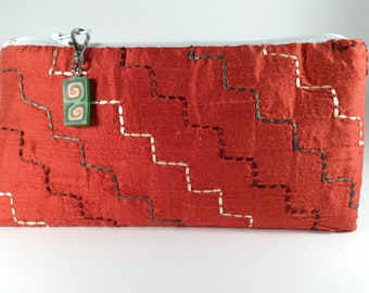 Red Silk Zippered Coin Purse with Sashiko Embroidery