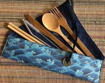 Zero Waste Kit with bamboo cutlery, metal straw and brush, and chopsticks
