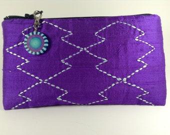 Purple Silk Zippered Coin Purse with Sashiko Embroidery