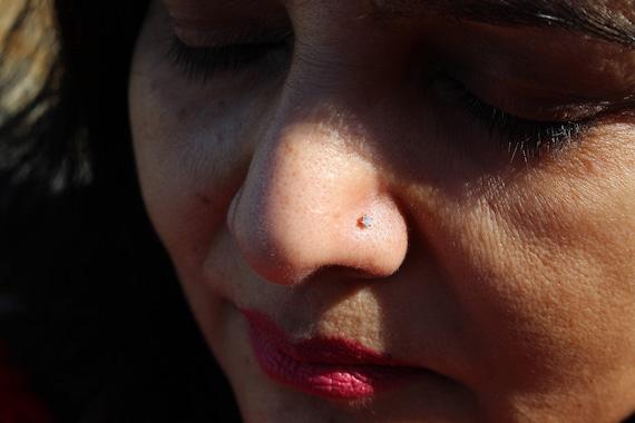 Tiny Diamond Nose Stud 0 025 Carat Gold Nose Stud Nose Etsy