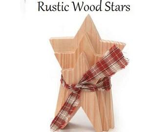 Rustic Wood Stars, Unfinished Wood