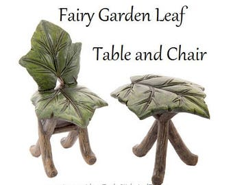 Fairy Garden Leaf Table and Chair, Miniatures