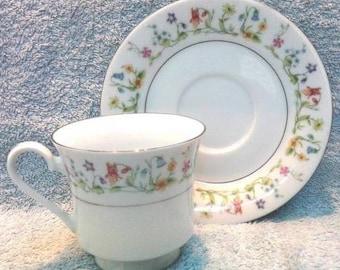 Multi-flowered Teacup & Saucer, Vintage
