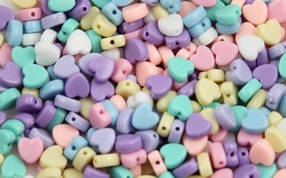 Heart Beads  Pastel Beads  Acrylic Heart