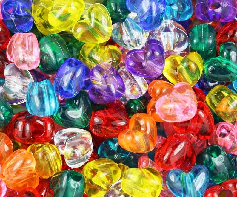 Transparent Heart Beads Transparent Heart Pony Bead Mix