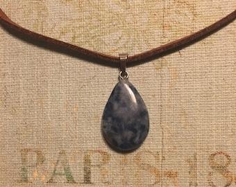 Blue Marble Teardrop Necklace