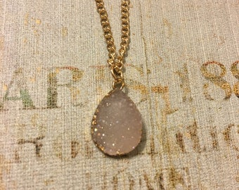 Clear Crystal Teardrop Necklace