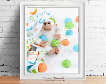 Wall decor Children's room. Art for children. Printing laminates. Download images. Food and colors in children's room.