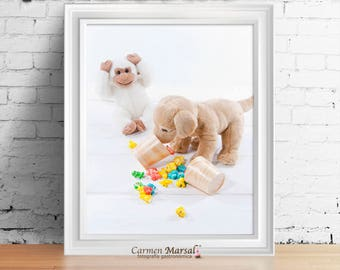 Wall decor Children's room. Art for children. Printing laminates. Download images. Toys and colors in children's room