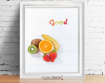 Wall decor Children's room. Photo to print. Download images. Food and colors in children's room. Children and Babies