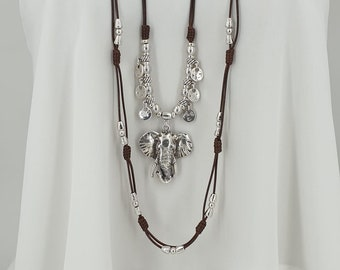 charms necklace Tribal necklace boho necklace Leather necklace for Women Uno de 50 Style elephant necklace
