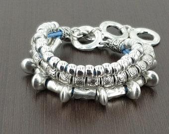 b715ae2ee1 Worman Boho leather bracelet, woman leather bracelet, bohemian bracelet,  silver beaded bracelet, multi chain bracelet