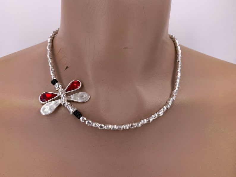 dragonfly necklace butterfly necklace, woman necklace Woman silver beaded Boho necklace butterfly silvee beads and leather necklace
