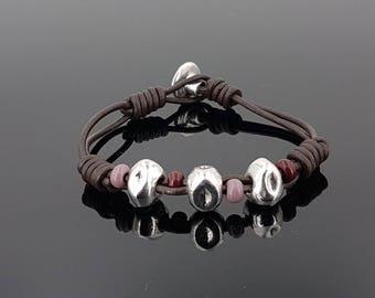 Boho bracelet, leather bracelet, zamak bracelet, woman bracelet,  bracelet, Zamak Spanish Jewelry