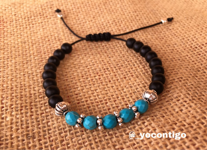 Zamak Spanish Jewelry Onyx and Turquoise woman/'s bracelet boho Tibetan  boho