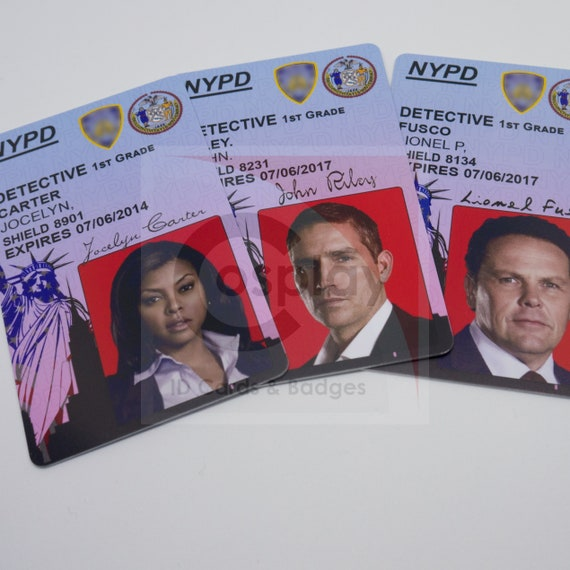 person of interest tv show police id card detective john etsy