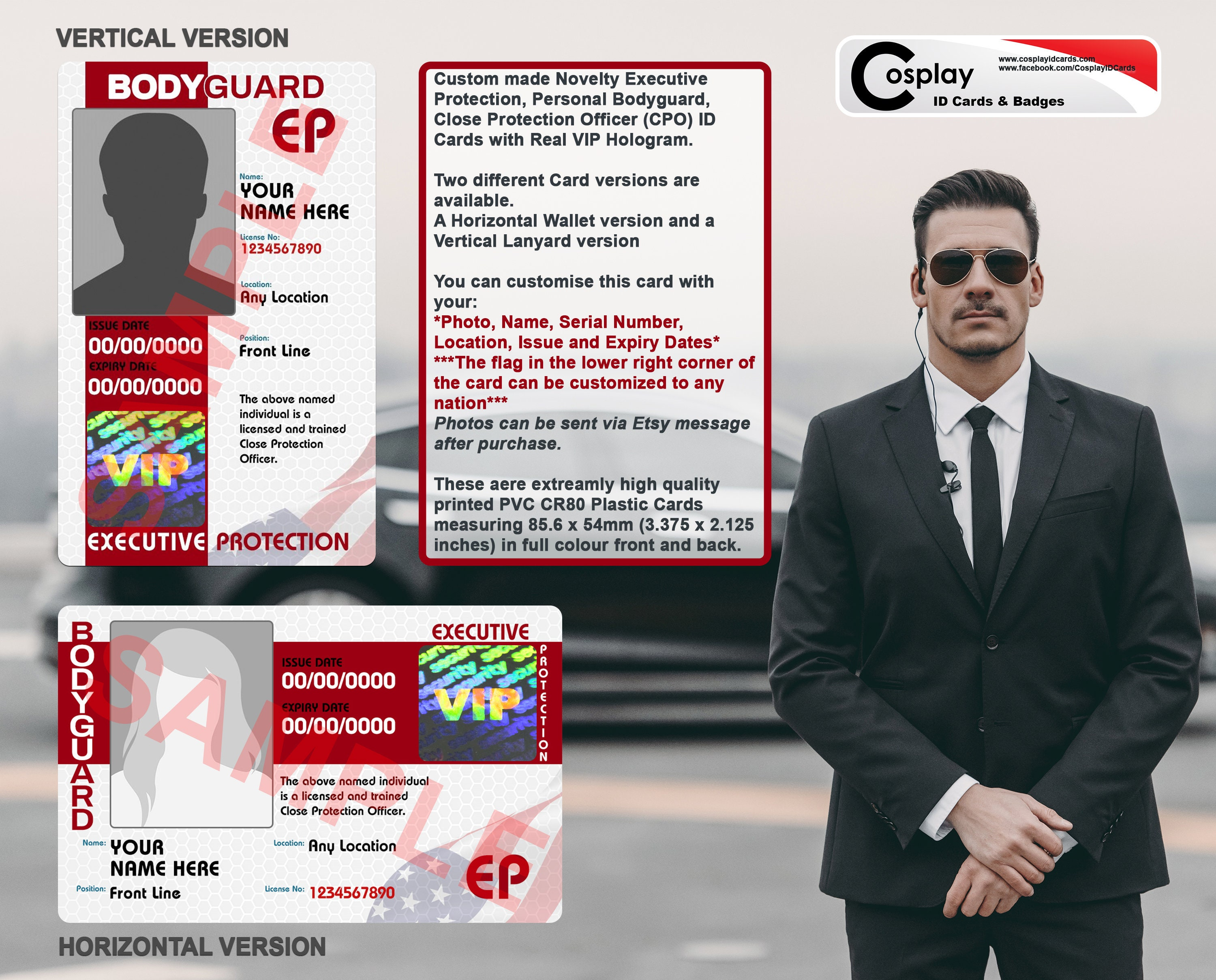 Novelty Executive Protection ID Card, Personal Bodyguard, Close Protection  Officer, CPO