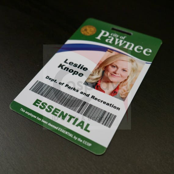 parks and recreation cosplay employee id badge leslie knope etsy