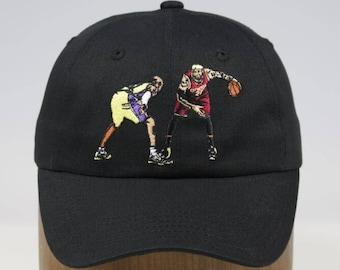 best website 07b81 22fa7 Lebron James vs Kobe Bryant - Cleveland Cavaliers vs Los Angeles Lakers  inspired custom Dad Hat