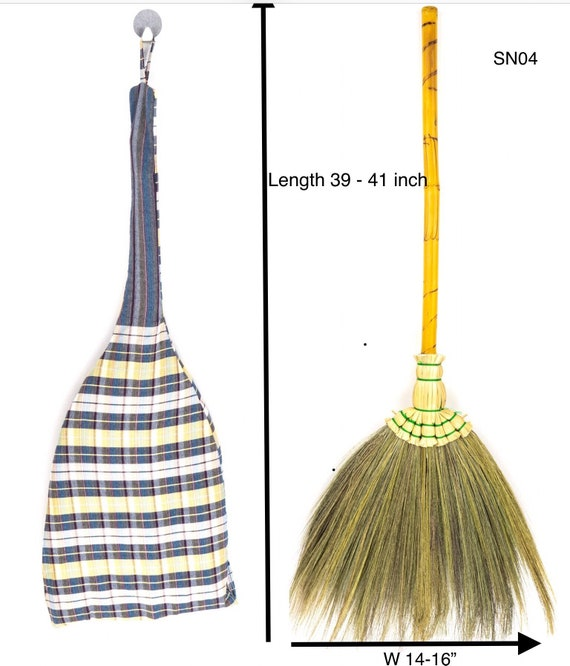 SKENNOVA 39-41 inch Tall of Asian Broom Natural Broom Grass Handmade Broom Witch Broom Bamboo Stick Handle Durable Broom for Sweeping Dirt Dust and Hair