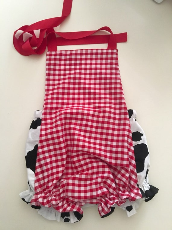 9703d9d4748f Red gingham cow print sun suit sunsuit romper red and white