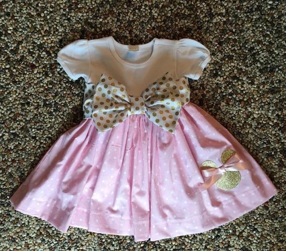 Polka Dot Minnie Mouse Dress Party Dress Light Pink Gold Polka Etsy