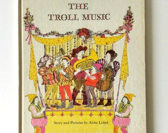 Vintage Classic Illustrated Children Book Bedtime Story The Troll Music 1966 Book Gift for Kids Children's Hardcover Storybook About Music