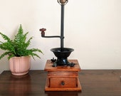 Coffee Mill Lamp Antique Wood Cast Iron Coffee Grinder Rustic Kitchen Cafe Lighting Coffee House Coffee Lover Table Lamp Gift