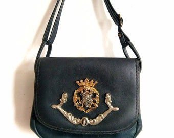632fa220fd5778 Vintage Park Lane Navy Leather Purse High Quality Vintage Leather 1950  Designer Handbag Classic Preppy Gold Silver Ornament Adjustable Strap